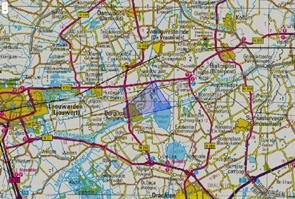 Verzendgebied van het NL-Alert wat verzonden is bij de grote brand in Burgum op 24 december 2019