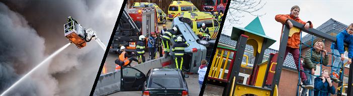 Drie afbeeldingen naast elkaar; de linker afbeelding is een hoogwerker die water spuit met veel rook op achtergrond, de tweede is een ongelukken waarin je hulpverleners ziet overleggen bij een auto die ondersteboven op de vangrail ligt, de derde foto zijn een aantal kinderen die hangen aan een klimrek.