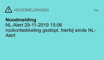 Einde noodmelding NL-Alert op 29 november tijdens brand Sint Nicolaasga