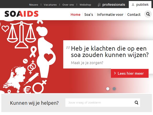 Afbeelding van de Soa Aids website