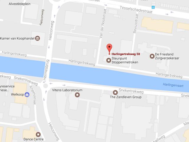 Google Maps screenshot gefocust op locatie hoofdkantoor Veiligheidsregio Fryslân