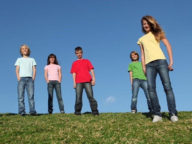 Vijf jongeren staan naast elkaar op de dijk in het gras