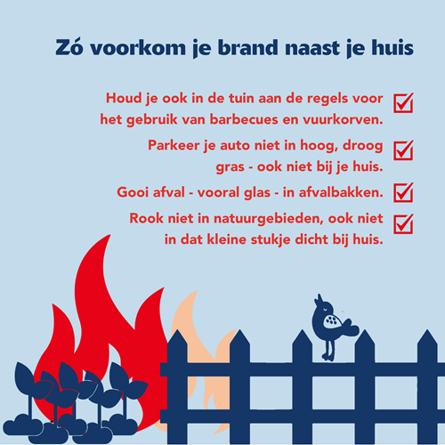 Houd je ook in de tuin aan de regels voor het gebruik van barbecues en vuurkorven. Parkeer je auto niet in hoog, droog gras - ook niet bij je huis. Gooi afval - vooral glas - in afvalbakken. Rook niet in natuurgebieden, ook niet in dat kleine stukje dicht bij huis.