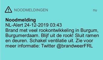 Screenshot van het NL-Alert wat verzonden is bij de grote brand in Burgum op 24 december 2019