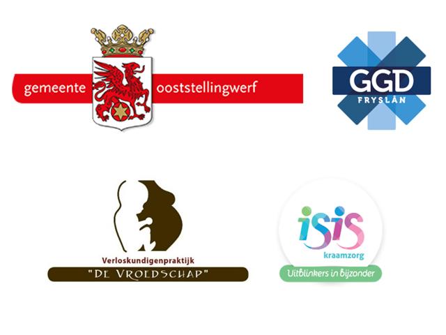 Vier verschillende logo's: Gemeente Ooststellingwerf, GGD Fryslan, De Vroedschap en Isis kraamzorg