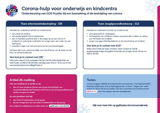 Factsheet - Corona-hulp voor onderwijs en kindcentra