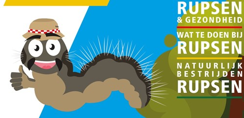 Cartoon van een een eikenprocessierups met de tekst: Rupsen en gezondheid, wat te doen bij rupsen, natuurlijk bestrijden rupsen