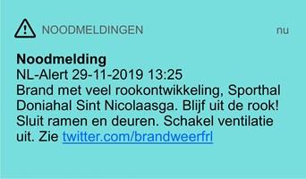 Noodmelding NL-Alert op 29 november tijdens brand Sint Nicolaasga
