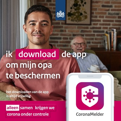 CoronaMelder app visual: Ik download de app om mijn opa te beschermen. Alleen samen krijgen we corona onder controle.