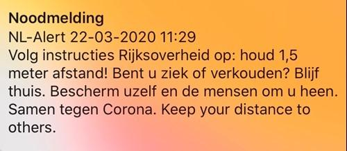 Noodmelding NL alert, houd 1,5 meter afstand!