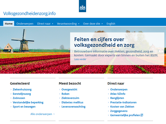 Screenshot van de website Volksgezondheidzorg.info met feiten en cijfers over volksgezondheid en zorg